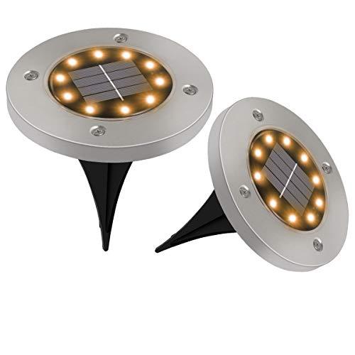 Luci Solari Giardino Golwof 6 Pezzi 10 LED Luce Sepolta Solare IP65 Impermeabile Luci da Terra Solari Faretto Sepolta in Acciaio Inox Faretti Solari da Giardino per Esterno Scala Paesaggio Vialetto