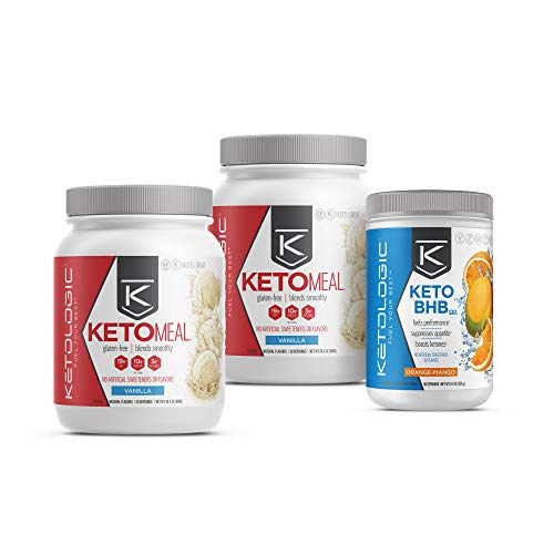 KetoLogic Keto 30 Challenge Bundle: Tim Tebow Approved | 30-Day Supply Keto Meal Replacement Shakes with MCT & BHB Exogenous Ketones Powder | Kickstarts Your Ketogenic Diet | Vanilla & Orange Mango