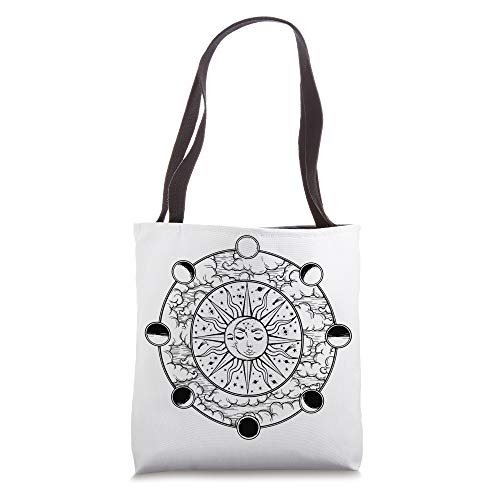 Retro Vintage Sun And Moon Crescent Faces With Moon Phases Tote Bag