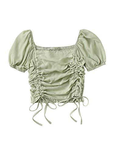SheIn Women's Puff Short Sleeve Square Neck Shirred Drawstring Crop Blouse Top Mint Green Medium