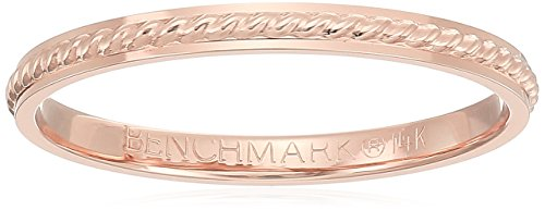 14k Rose Gold 2mm Rope Center Band Stackable Ring, Size 6