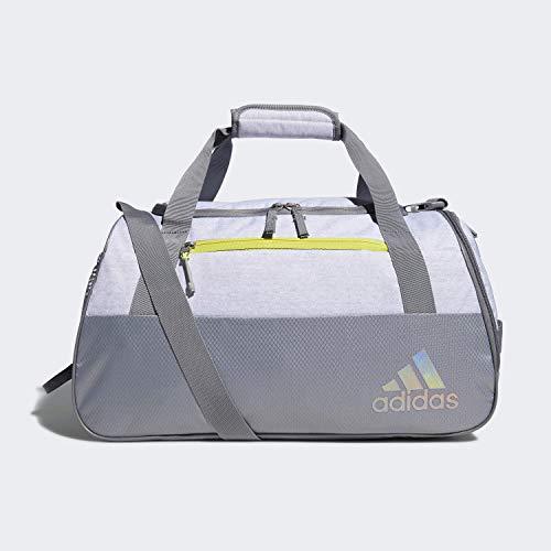 adidas Women's Squad Duffel Bag, White Jersey/Grey/Shock Yellow, ONE SIZE