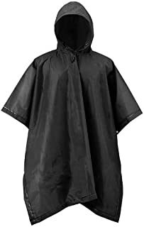 RPS Outdoors 51-114 Black Adult Rain Poncho EVA Waterproof Reusable (50 inch x 80 inch)