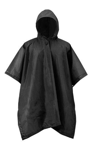 RPS Outdoors 51-114 Adult Rain Poncho Black EVA Waterproof Reusable (50 inch x 80 inch)