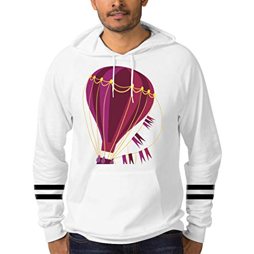 Hot-air Balloon Unisex Hoodies Stylish Diagonal Pocket Design Hoodies in Winter and Spring L White