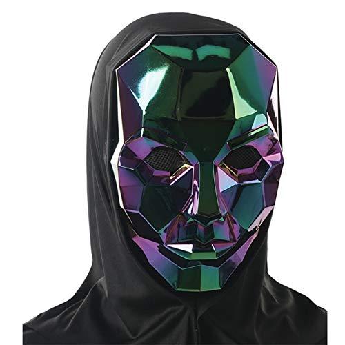 JUGF Halloween Maske Kopfbedeckung Erwachsener bunt Roboter Maske bunter Galvanik Schädel Maske Symphony Horn Maske Weihnachtsfeier Maskerade bar,a