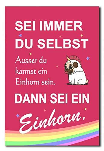 Hochwertiges Metallschild 30 x 20 cm aus Alu Verbund Sei Immer du selbst Einhorn pink Deko Schild Wandschild