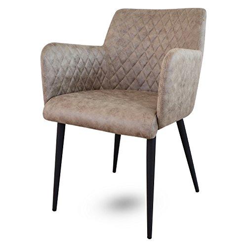 Damiware Rose Stuhl | Design Wohnzimmerstuhl Esszimmerstuhle Bürostuhl mit Leder-Optik Stoffbezug | (Dessert)