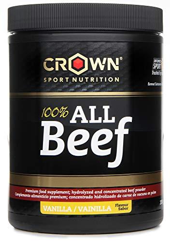 Crown Sport Nutrition 100{8d2d2aff5f7a02d2ba35e37f5d4e89cd70e972da318b2ccf0f4c283a9ef3a8b8} All Beef, Concentrado proteico de carne de vacuno con Hierro Hemo, B12, B6 entre las 20 vitaminas y minerales de forma natural, Sabor de Vainilla - 200 g