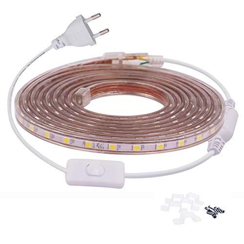 VAWAR 2m tira de LED con interruptor - blanco cálido, 5050 SMD 60 Leds/m, luz de fondo brillante, 220V 230V Strip, IP65 impermeable, DIY decoración para el hogar, cocina, dormitorio, Navidad