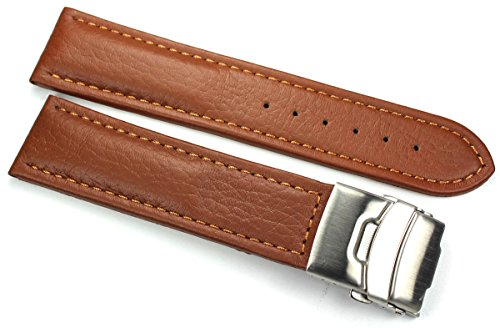 Sulla 22mm Genuine Leder Uhrenarmband mit Edelstahl Faltschließe braun