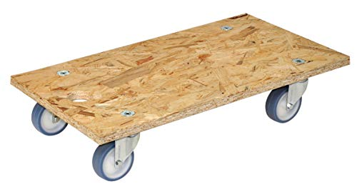 WAGNER Transporthilfe - OSB ULTRASOFT - Placa / tablero de aglomerado OSB 18 mm, 30 x 57.5 x 11 cm, orificio de suspensión, ruedas giratorias ultrasoft 75 mm, carga máxima 250 kg - 20117301