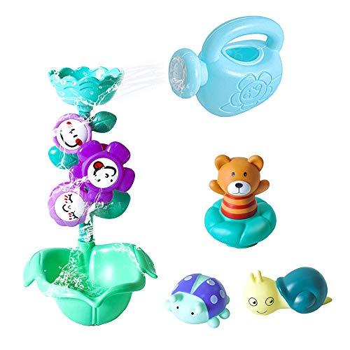 Pulchram Badespielzeug Set,Badewannenspielzeug Wasserspielzeug Wasserdusche Spielzeug mit Saugnapf für Kinder ab 3 Jahre