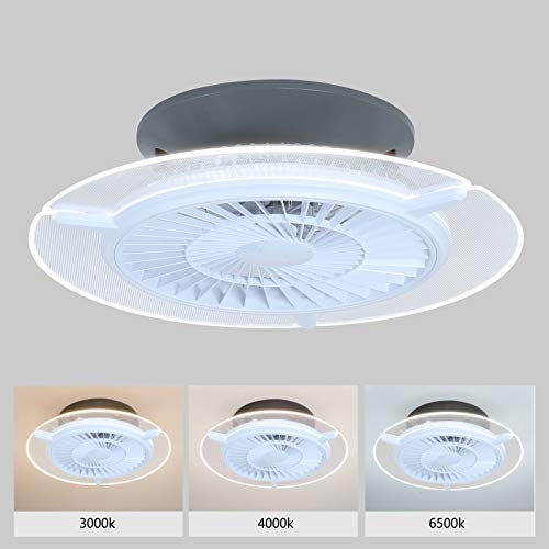 Ventilatore da soffitto, Ventilatore A Soffitto,75W Invisibile Fan Plafoniera,velocità del Vento Regolabile ,Ventilatore da soffitto con luce e telecomando,Dimmerabile Plafoniera ventilatore soffitto