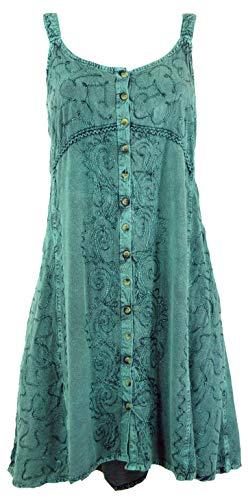 Guru-Shop Besticktes Indisches Boho Kleid, Hippie Chic Minikleid, Damen, Perol Design 9, Synthetisch, Size:40, Kurze Kleider Alternative Bekleidung