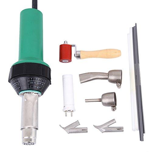 TryE 1500W Hot Air Gun Welding Torch Plastic Welding Kit with Welding Speed Nozzle Roller Rod Polyethylene Welding Kit