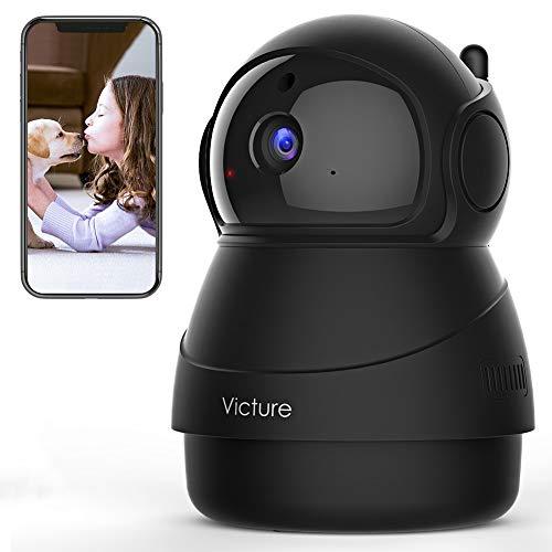 Victure 1080P FHD WLAN IP Kamera, Überwachungskamera mit Nachtsicht, Bewegungserkennung, Zwei-Wege-Audio, Innenkamera, Monitor-Baby/Haustier/Haus (Schwarz)