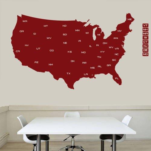 Edwiin Jackson Muursticker Vinyl Sticker Home Muurdecoratie Kaart van de VS Mural Modern Map Land