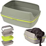 4-PETS Cat Grey Scoopless Litter Tray Sifting Toilet Box High Sided Rim Pan Loo