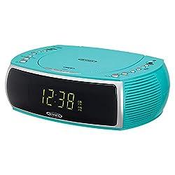 Jensen Turquoise Modern Home CD Tabletop Stereo Clock Digital AM/FM Radio CD Player Dual Alarm Clock Stereo CD Top-Loading Disc Player | USB Charging Port DV 5V 800mA | Headphone Jack | 0.9 Display