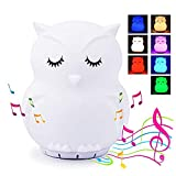 Kids Lamp LED Night Light with Bluetooth Speaker-Cute Owl Animal Lamp for Babies,Boys,Girls Nightlight Perfect Gift for New Born Color Changing Portable Remote Control, Silicone Night Light