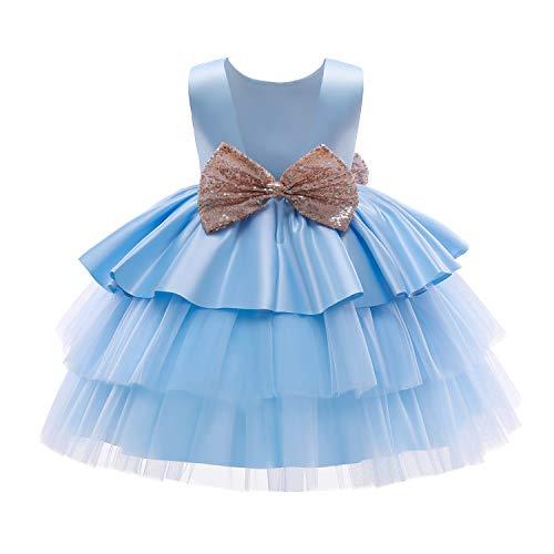 NNJXD Bebé Niñas Princesa Vestido Bowknot Lentejuelas Vestidos Pompa Boda Vestido de tutú Talla100 (2-3 años) 730 Azul-A