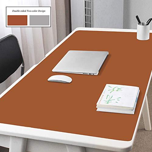 qwert Büro Schreibtischunterlage Beschützer Für Laptop Pc-Tastatur,pu Leder Schreibmatte Wasserdicht Gaming Mousepad,Anti-Slip Erweiterte Schreibtisch Blotter Beschützer-braun+grau 80x50cm(31x20inch)