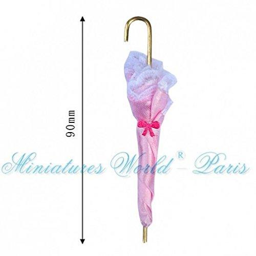 Miniatures World - Roze paraplu in stoffen en metaal voor miniatuurdecors en poppenhuizen in schaal 1:12