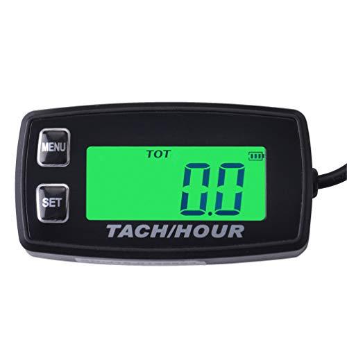 Foundown Motorstundenzähler, induktiv, Tachometer mit Hintergrundbeleuchtung, digital, rücksetzbar, für 2/4-Takt-Motoren, Motorrad, Marine-Gleiter, ATV, Traktoren, Rasenmäher, Schneemobil, Boot 35R