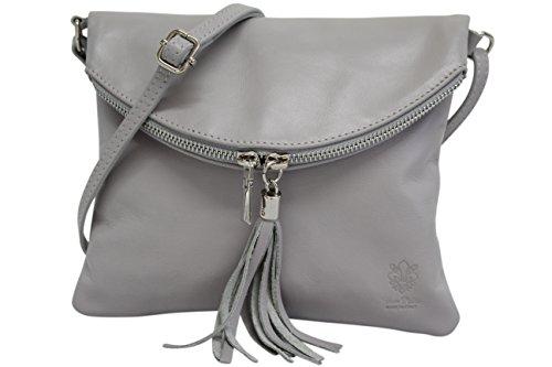 AmbraModa Borsa a tracolla donna Piccola borsa italiana realizzata in morbida vera pella SAVAGE NL610 (grigio chiaro)