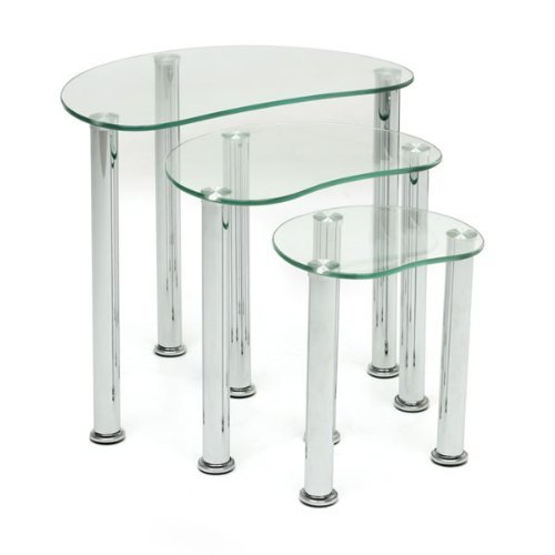BOJU Modern Clear Glass Nest of Table Set of 3 Sofa Coffee Side End Table for Living Room Bedroom Small Snack Table Chrome Leg Stackable Nested Table Chest of Table (Oval: white)