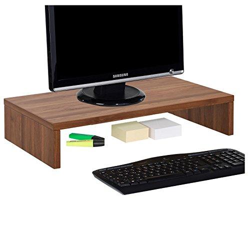 CARO-Möbel Monitorständer Monitor Schreibtischaufsatz Bildschirmerhöhung in nussbaum 50 x 10 x 27 cm (B x H x T)