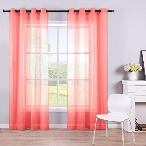 KOUFALL Coral Curtains 96 Inches Long for Living Room Set of 2 Panels Grommet Semi Voile Transparent Coral Sheer Curtains for Bedroom Decor Dining Area Decorations 52x96 Inch Length
