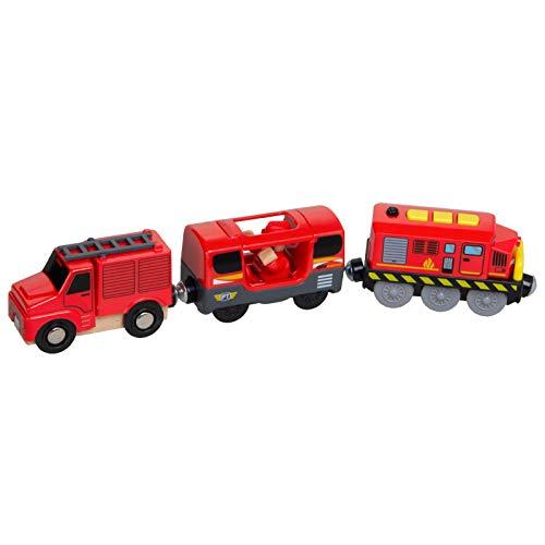 Toys Train - Tren Juguete Electrico Niños, Locomotora Tren Compatible para BRIO Pista De Madera, Classic para Niños (Batería No Incluida)
