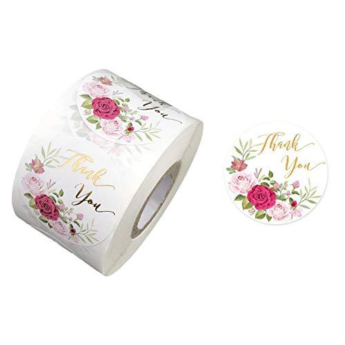 XINGYUE Etiqueta engomada de agradecimiento en forma de corazón, 500 pegatinas de flores de agradecimiento de 1,5 pulgadas para regalo de boda, papel de horneado
