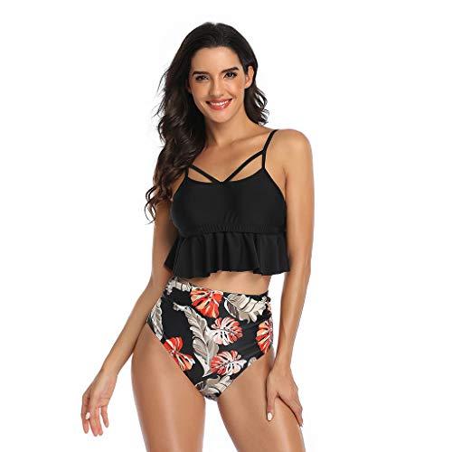 Brizz Badpak voor moeder en dochter, tweedelig zwempak, elegant mouwloos kort bovenstuk + eenkleurig zwembroek sexy strandpak met hoge taille