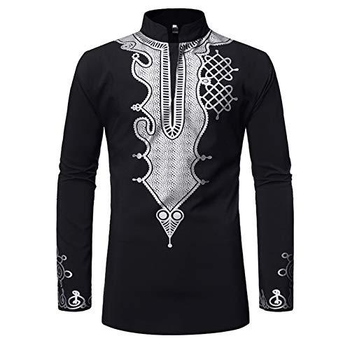 Ansemen Camisas Totem de Bronce de Jefe Africano - Camisa de Manga Larga Kenia Nigeria Collar del Soporte Thobe Jubba para Hombres