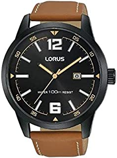 RH985HX9 - Lorus Sports Men's, Quartz, 100m Water Resistant, Black with Brown Leather Strap