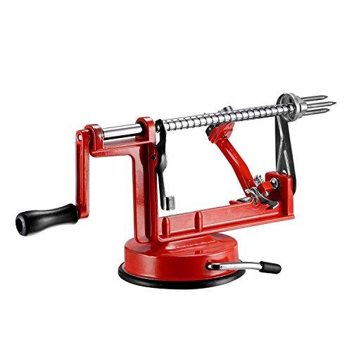 qobobo 3 in 1 - Apfelschäler & Entkerner - Apfelschäler Apfelentkerner Apfelschneider Apfelschälmaschine Apfel Rot