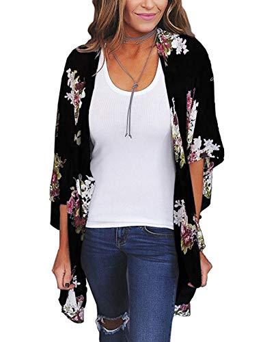 JORYEE Damen Florale Kimono Cardigan - Tops Cardigan Chiffon Shawl Bluse Sommer Boho Strand Cover up Leichte Jacke Oberteil (Schwarz, XL)