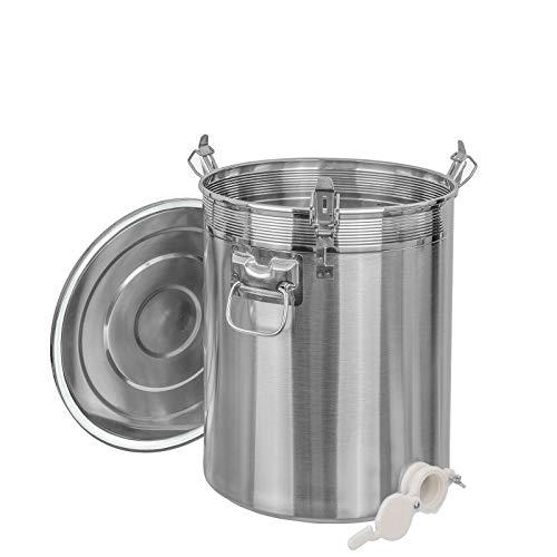 Edelstahl Honig Abfülleimer mit Quetschhahn Abfüllbehälter in 4 Varianten auswählbar (50kg, Kunststoff Quetschhahn)