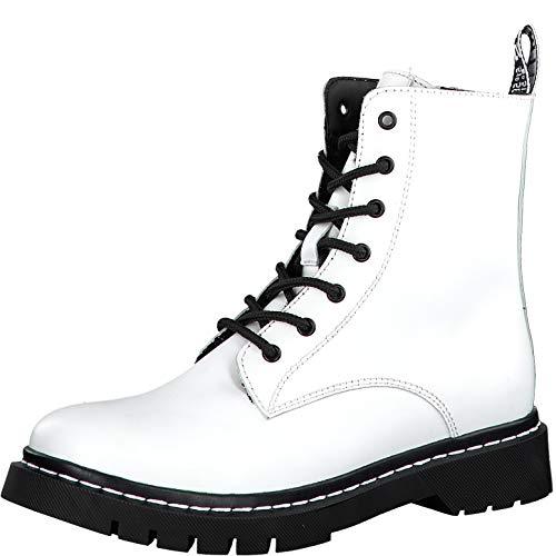 Tamaris Damen Stiefel 26865-33, Frauen Schnürstiefel, leger Boots Combat schnürung gefüttert Damen Frauen weibliche Lady,White/Black,38 EU / 5 UK