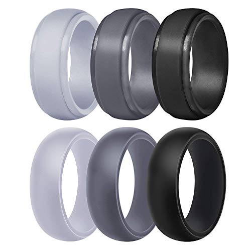 Silicone Wedding Ring for Men, Breathable Rubber Wedding Band for Workout,Crossfit,Fishing,Hunting-8.7mm Wide(Camo,Dark Green, White Gr (Light Grey,Dark Grey,Black, Size 11-20.6mm)