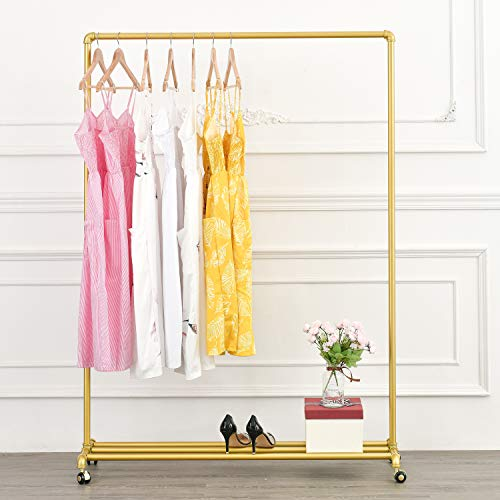 Industrial Pipe Rolling Clothing Rack Garment Rack with Wheels Retail Display Clothes Racks Perfect for Laundry Rooms Bedrooms or Boutiques Gold