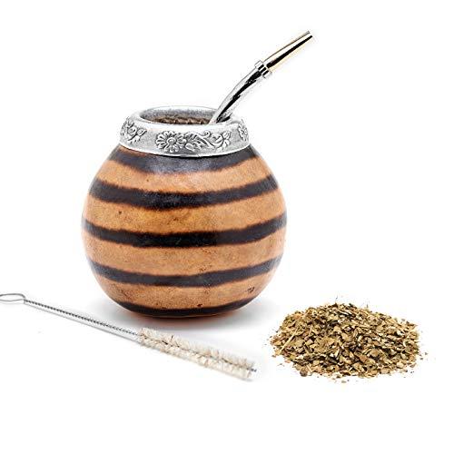 BALIBETOV Set aus Natürlichem Kürbis Tasse für Mate Tee, Handgefertigt, Inkl. Strohhalm (Yerba Mate Straw)(NATÜRLICHE 01)