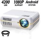 DOOK WiFi Beamer, Kabellos Full HD 1280x800P Spiel Video projektor für Zuhause und die Arbeit, 4200 Lumen LED HELLIGKEIT, Anschluss TV-Sticks super Bequeme 180'' Video-Unterhaltung,Weiß