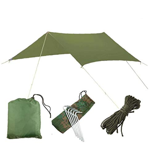 Odoukey Tent Tarp Hammock Rain Fly Waterproof Portable Lightweight Waterproof Windproof Snowproof Shelter for Camping Travel Outdoor (green)