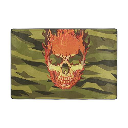Tapis de Sol Vert Vintage feu crâne Tapis paillassons Tapis pour Salon Maison Chambre décoratif 72 x 48 Pouces antidérapant