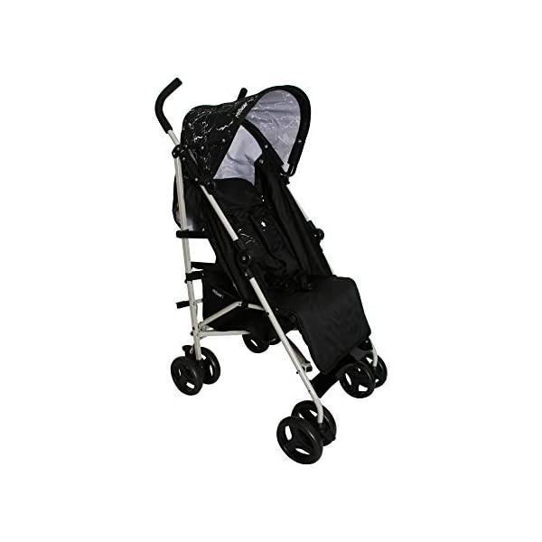 My Babiie MB01 Black Marble Stroller My Babiie Suitable from birth to maximum 15kg, Great for parents on the go being lightweight but strong, Lockable swivel front wheels, Compact fold, ideal for holidays too! Front and rear wheel suspension, Adjustable 2-position leg rest for extra comfort, Super soft handles Extendable 2 position canopy, Hood includes a storage pocket, Large storage basket 1