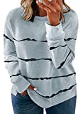 Happy Sailed Womens Plus Size Long Sleeve Round Neck Tie Dye Printed Striped Pullover Sweatshirt Tops,1X Gray